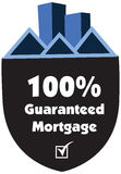 100% guaranteed mortgage  label or badge isolated on white. Background. One hundred percent guarantee rent label assuring rent for the property or object Stock Image