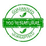 Guaranteed natural stamp rubber green. Vector organic and natiral rubber seal guarantee illustration Royalty Free Stock Photos