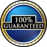 Guaranteed One Hundred Percent Icon. Guaranteed and secure 100 percent round gold label icon with stars Royalty Free Illustration