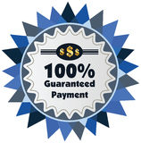 100% guaranteed payment  label or badge. One hundred percent guarantee Stock Photo