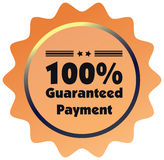 100% guaranteed payment  label or badge. One hundred percent guarantee Royalty Free Stock Photo