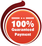 100% guaranteed payment  label or badge. One hundred percent guarantee Stock Image