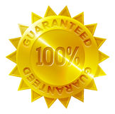 Guaranteed 100 percent Gold Medal Icon. A gold medal 100 percent guaranteed shop icon with star shaped border Stock Photos