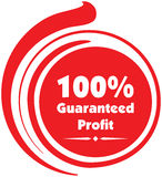 100% guaranteed profit  label or badge. Isolated on white background. One hundred percent guaranteed profit on the sale or the property or object for business Royalty Free Stock Photos
