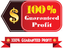 100% guaranteed profit  label or badge. Isolated on white background. One hundred percent guaranteed profit on the sale or the property or object for business Royalty Free Stock Photography