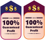 100% guaranteed profit  label or badge. Isolated on white background. One hundred percent guaranteed profit on the sale or the property or object for business Royalty Free Stock Images