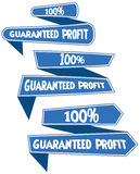 100% guaranteed profit  label or badge. Isolated on white background. One hundred percent guaranteed profit on the sale or the property or object for business Stock Photo