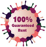 100% guaranteed rent  label or badge isolated on white bac. Kground. One hundred percent guarantee rent label assuring rent for the property or object Stock Photo