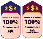 100% guaranteed sale  label or badge. One hundred percent guarantee Stock Images