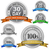 Guaranteed Sign Set. 30 Day Money Back Guaranteed and 100% Satisfaction Guaranteed Sign Set Royalty Free Stock Photo