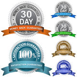 Guaranteed Sign Set. 30 Day Money Back Guaranteed and 100% Satisfaction Guaranteed Sign Set Royalty Free Stock Image