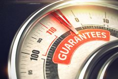 Guarantees - Text on Conceptual Gauge with Red Needle. 3D. Stock Photos