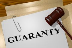 GUARANTY - legal concept. 3D illustration of GUARANTY title on legal document Stock Images