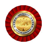 Guaranty quality golden label. Vector golden badge named Guaranty quality for your business artwork Stock Photos