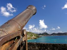 Guard. An old cannon in a fortress Stock Image