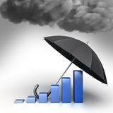 Guard against crisis. Conceptual 3d illustration. Umbrella helps protect economic chart against the bad weather. Guard against crisis. Conceptual 3d illustration Royalty Free Stock Photos