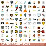 100 guard agency icons set, flat style. 100 guard agency icons set in flat style for any design vector illustration royalty free illustration