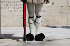 Guard in Athens, Greece. Evzones standing guard in front of the Parliament in Athens, Greece stock images