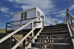 Guard beach house. With blue sky and clouds at Sylt near Westerland to be attention of the swimmer Stock Photo