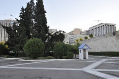 Guard Box of the Parliament House from Syntagma of Athens in Greece. On september 2017 stock image