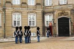 Guard change. The guard change at Amalienborg Palace in Copenhagen Denmark Stock Photos