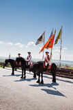 The guard change at Alba Iulia Fortress stock photo