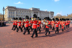 Guard change in Buckingham Palace. Soldier marching band during the daily guard change in Buckingham Palace, London, UK Royalty Free Stock Image