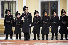 Guard changing at the Royal Palace in Oslo, Norway Royalty Free Stock Image