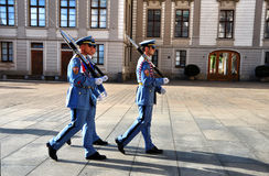 Guard changing - three Prague Castle Guard soldiers marching to change the ones guarding the entrance of the Prague Castle ,Prague Royalty Free Stock Photography
