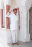 Guard in the City Palace of Jaipur, Rajasthan Stock Photos