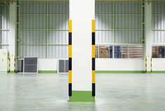 Guard. Corner guard at column with factory background, night scene royalty free stock photography