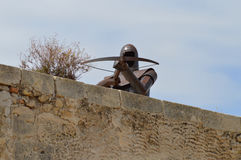 On Guard With A Crossbow Alicante Castle Stock Photos