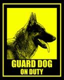 Guard dog on duty sign. Vector Stock Photos