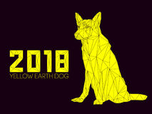 Guard dog German shepherd in polygons style, 2018. Dog is symbol of New 2018 year, according to Chinese calendar Year Of Yellow Earth Dog. Guard dog German Royalty Free Stock Image