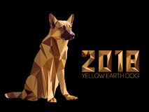 Guard dog German shepherd in polygons style, 2018. Dog is symbol of New 2018 year, according to Chinese calendar Year Of Yellow Earth Dog. Guard dog German Royalty Free Stock Photos