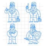 Guard doodle concept set 2 Stock Images