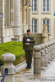 The guard on duty. This is hour guard near the Palace Grand Ducal May 15, 2013 in Luxembourg, Luxembourg Stock Photography