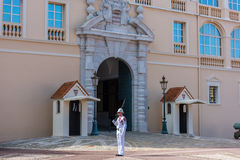 Guard on duty at residence of prince of Monaco, Europe Royalty Free Stock Image