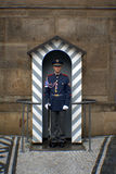 Guard in the entrance of Prague`s castle. The presidential guard at Prague Castle Royalty Free Stock Photo