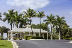 Entrance to gated community in Naples, Florida stock photos