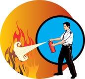 Guard extinguishing fire Stock Photo
