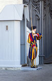 Guard famous Pontifical Swiss Guard in Vatican Stock Image