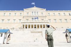 Guard in front of the Greek Parliament, May 2014. Athens stock photos