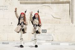 Guard in front of the Greek Parliament, May 17. 2014. Athens royalty free stock photography