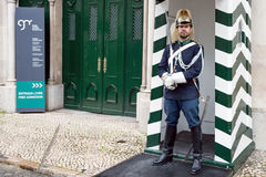 Guard in front of Museum of National Republican Guard, Lisbon, Portugal Royalty Free Stock Photo
