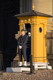 Guard with guardhouse at Stockholm Palace, Stockholm, Sweden Royalty Free Stock Photo