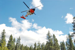 Guard Helicopter. US 102nd Civil Support Team in training excersise utilizing a US Coast Guard Helicopter, Sunriver Oregon, May 7, 2007 Royalty Free Stock Photography