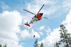 Guard Helicopter. US 102nd Civil Support Team in training excersise utilizing a US Coast Guard Helicopter, Sunriver Oregon, May 7, 2007 Stock Photos
