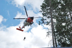 Guard Helicopter. US 102nd Civil Support Team in training excersise utilizing a US Coast Guard Helicopter, Sunriver Oregon, May 7, 2007 Stock Photography