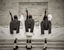 Guard of honor in Athens. Changing Honor Guard, Parliament of Athens, Greece stock photo
